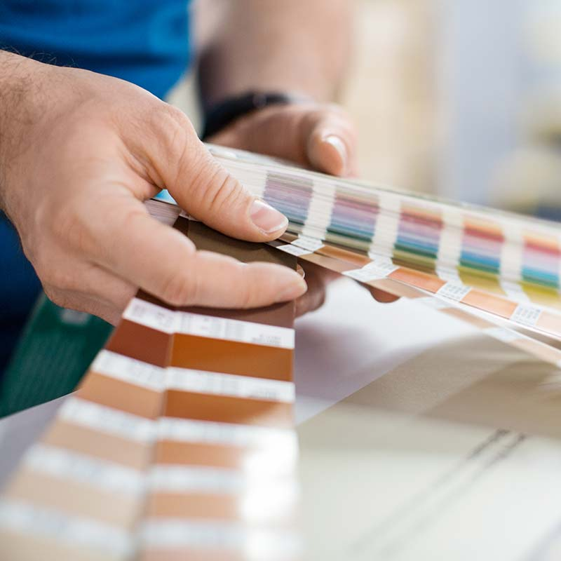 person looking through color sample book